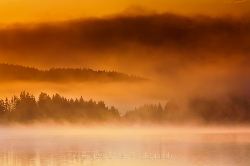Shiroka Polyana lake in Rhodope Mountains at dawn