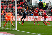 Patrick Bamford (9) of Leeds United looks to shoot at goal during the EFL Sky Bet Championship match between Bristol City and Leeds United at Ashton Gate, Bristol, England on 9 March 2019.