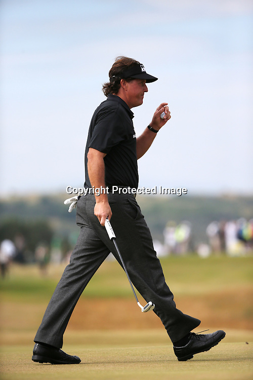 Phil Mickelson (USA),<br /> JULY 18, 2013 - Golf :<br /> Phil Mickelson of the United States acknowledges the crowd on 4th hole during the first round of the 142nd British Open Championship at Muirfield in Gullane, East Lothian, Scotland. (Photo by Koji Aoki/AFLO SPORT)