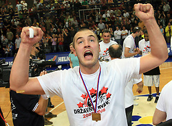Celebration of Marko Milic, captain of Union Olimpija after fourth (last) final match of UPC Telemach league and Slovenian  National Championship  between KK Helios Domzale, Domzale and Union Olimpija, Ljubljana, Slovenia, on June 7, 2008, in Komunalni center hall in Domzale. Match was won by Union Olimpija 84:60 and Olimpija became National Champion 2007/2008 fourteen times in history of Slovenia. (Photo by Vid Ponikvar / Sportal Images)