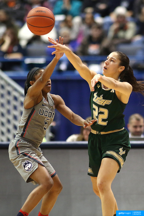 HARTFORD, CONNECTICUT- JANUARY 10: Laia Flores #22 of the South Florida Bulls is defended by Crystal Dangerfield #5 of the Connecticut Huskies in action during the the UConn Huskies Vs USF Bulls, NCAA Women's Basketball game on January 10th, 2017 at the XL Center, Hartford, Connecticut. (Photo by Tim Clayton/Corbis via Getty Images)