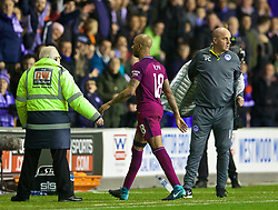 WIGAN, ENGLAND - Monday, February 19, 2018: Manchester City's Fabian Delph walks off dejected after being shown a red card and sent off for a tackle on Wigan Athletic's Max Power during the FA Cup 5th Round match between Wigan Athletic FC and Manchester City FC at the DW Stadium. (Pic by David Rawcliffe/Propaganda)