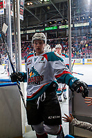 KELOWNA, CANADA - JANUARY 3: Gordie Ballhorn #4 of the Kelowna Rockets exits the ice against the Tri-City Americans on January 3, 2017 at Prospera Place in Kelowna, British Columbia, Canada.  (Photo by Marissa Baecker/Shoot the Breeze)  *** Local Caption ***