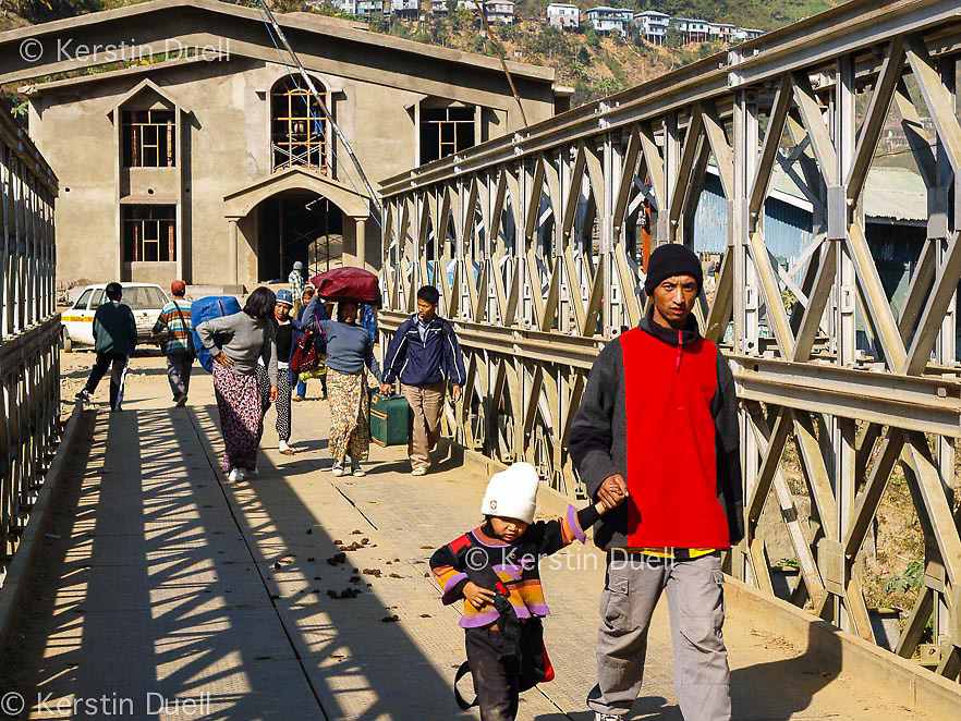 Crossing the bridge between Mizoram in India to Chin State in Burma<br />