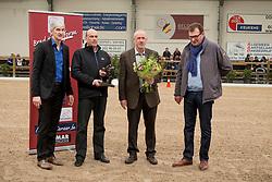 Van Keerberghen Georges<br /> BWP Award sponsored by KBC overhandigd door Patrick Wuytack (KBC), Rudi Eerdekens, Kris Keersmaekers, (voorzitter BWP)<br /> 3de phase BWP Keuring - Stal Hulsterlo - Meerdonk 2016<br /> © Hippo Foto - Dirk Caremans<br /> 17/03/16