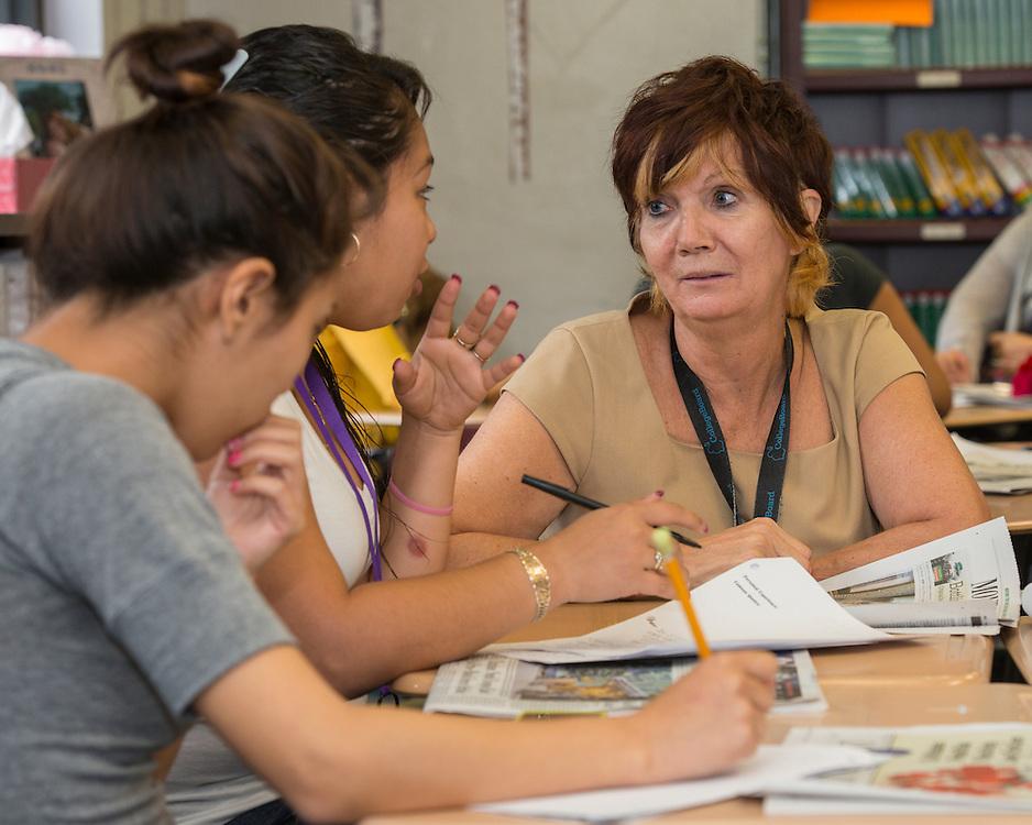 Diane Morrow teaches an AP English class at Davis High School, April 14, 2014.