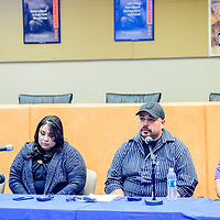 Jessica Romero, left, Victoria Garcia, Chris Muniz and Lawrence Garcia speak about the loss of Lisa Romero-Muniz in the Oct 1 Las Vegas Mass Shooting at the Gallup-McKinley County School District Board Room Saturday.