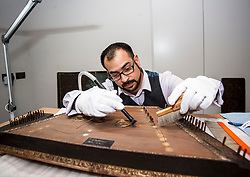 Consevator Jonathan Santa Maria Bouquet works on an 18th century dulcimer as part of the newly-refurbished St Cecilia's Hall, which has just undergone a 2 year, £6.5 million refurbishment which will see more of the University of Edinburgh's musical instrument collection on display to the public.<br /> <br /> © Dave Johnston/ EEm