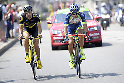 July 14, 2018 - Amiens Metropole, FRANCE - French Fabien Grellier of Direct energie and Dutch Marco Minnaard of Wanty-Groupe Gobert pictured in action during the eighth stage of the 105th edition of the Tour de France cycling race, from Dreux to Amiens Metropole (181 km), in France, Saturday 14 July 2018. This year's Tour de France takes place from July 7th to July 29th. BELGA PHOTO YORICK JANSENS (Credit Image: © Yorick Jansens/Belga via ZUMA Press)