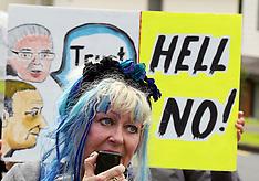 Auckland-TPPA protest outside Titirangi Golf Club where Prime Minister speaking