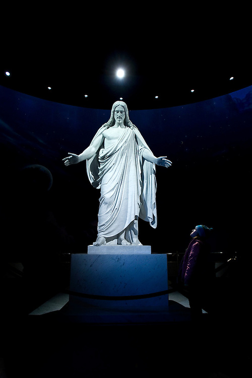 A young girl looks up at the Replica of Bertel Thorvaldsen's Christus statue, found in the North Visitors' Center of Temple Square in Salt Lake City, Utah Thursday 12/11/08. August MIller