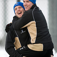 St Johnstone Training....01.01.10<br /> Liam Craig and Gary Irvine having fun during training this morning ahead of tomorrow's trip to Falkirk<br /> see story by Gordon Bannerman Tel: 07729 865788<br /> Picture by Graeme Hart.<br /> Copyright Perthshire Picture Agency<br /> Tel: 01738 623350  Mobile: 07990 594431