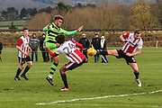 Forest Green Rovers Jordan Simpson(12) shoots at goal misses the target during the The Central League match between Cheltenham Town Reserves and Forest Green Rovers Reserves at The Energy Check Training Ground, Cheltenham, United Kingdom on 28 November 2017. Photo by Shane Healey.