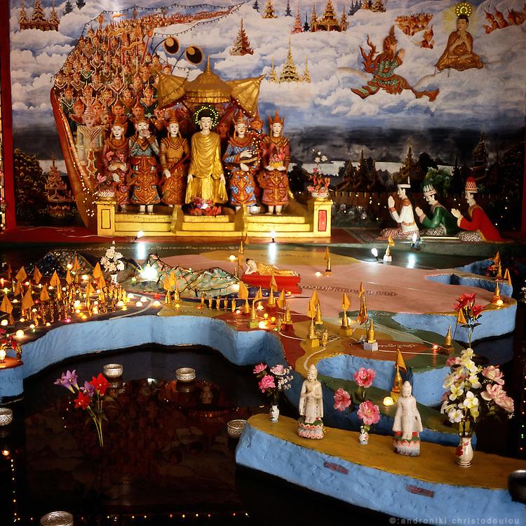 Budhist temple build in a Burmese style, outside Mae Sot city near the Thai-Burmese border.