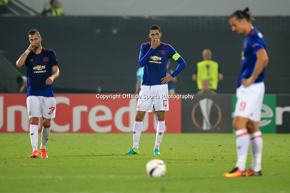 15 September 2016 - UEFA Europa League (Group A) - Feyenoord v Manchester United - A dejected Morgan Schneiderlin, Chris Smalling and Zlatan Ibrahimovic of Manchester United - Photo: Marc Atkins / Offside.