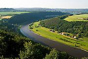 Festung Koenigstein, Blick ueber Landschaft mit Elbe , Saechsische Schweiz, Elbsandsteingebirge, Sachsen, Deutschland.|.Fort Koenigstein, view on river Elbe, Saxony, Germany
