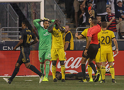 July 26, 2017 - Chester, PA, United States of America - Columbus Crew SC Defender JONATHAN MENSAH (4) receives a red card and ejection in the second half of a Major League Soccer match between the Philadelphia Union and Columbus Crew SC Wednesday, July. 26, 2017, at Talen Energy Stadium in Chester, PA. (Credit Image: © Saquan Stimpson via ZUMA Wire)