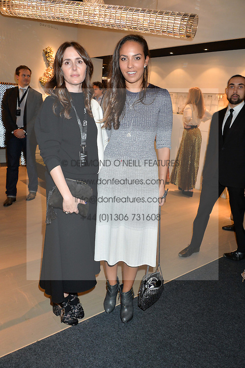 Left to right, TANIA FARES and PRINCESS ALIA AL SANOUSI at the PAD London 2015 VIP evening held in the PAD Pavilion, Berkeley Square, London on 12th October 2015.