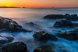 Dawn over the Atlantic Ocean at Great Island Common in New Castle, New Hampshire.