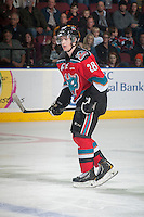 KELOWNA, CANADA - OCTOBER 25: Joe Gatenby #28 of Kelowna Rockets skates against the Brandon Wheat Kings on October 25, 2014 at Prospera Place in Kelowna, British Columbia, Canada.  (Photo by Marissa Baecker/Shoot the Breeze)  *** Local Caption *** Joe Gatenby;
