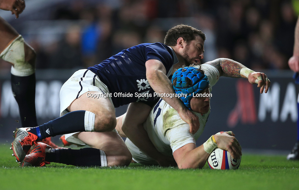 14 March 2015 - 6 Nations Rugby - England v Scotland :  Jack Nowell scores the third England try despite the challenge from Greig Laidlaw.<br /> Photo: Mark Leech