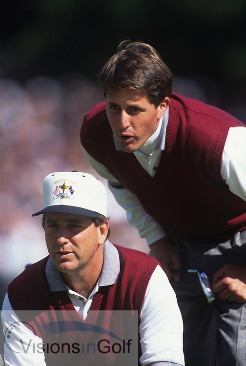 Phil Mickelson Jay Haas<br /> Ryder Cup 1995<br /> Picture Credit:  Mark Newcombe / www.visionsingolf.com