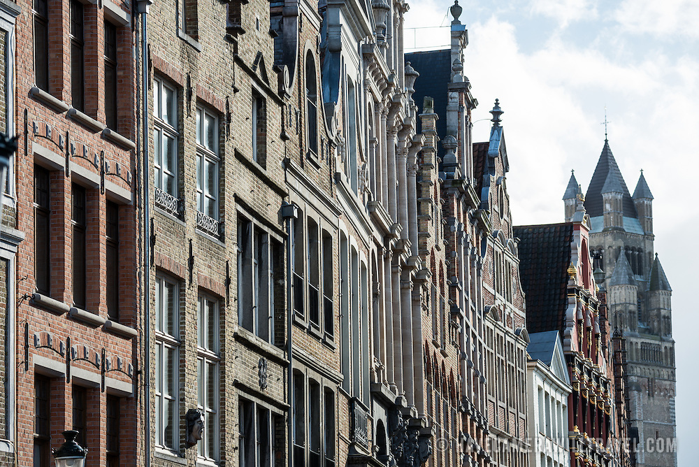 Buildings in the Markt (Market Square) in the historic center of Bruges, a UNESCO World Heritage site.