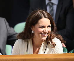 The Duke and Duchess of Cambridge enjoy the tennis in the Royal Box on the ninth day of the 2012 Wimbledon championships in Londonon Wednesday the 4th  July 2012. Photo by i-Images.