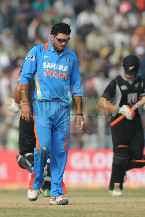 Yuvraj Singh of India during the 1st ODI (One Day International) held at the Nehru Stadium in Guwahati, Assam, India on the 28 th November 2010.Photo by Pal Pillai/BCCI/SPORTZPICS