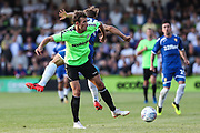 Forest Green Rovers Christian Doidge(9) battles for the ball during the Pre-Season Friendly match between Forest Green Rovers and Leeds United at the New Lawn, Forest Green, United Kingdom on 17 July 2018. Picture by Shane Healey.