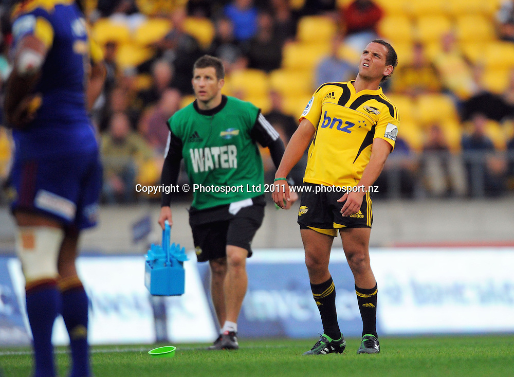 Hurricanes kicker Aaron Cruden reacts to a missed penalty attempt. Super 15 rugby match - Hurricanes v Highlanders at Westpac Stadium, Wellington, New Zealand on Friday, 18 February 2011. Photo: Dave Lintott/PHOTOSPORT