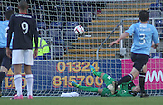 Dundee substitute keeper Dan Twardzik saves Rory Loy's penalty - Falkirk v Dundee, SPFL Championship at <br /> Falkirk Stadium<br />  - &copy; David Young - www.davidyoungphoto.co.uk - email: davidyoungphoto@gmail.com