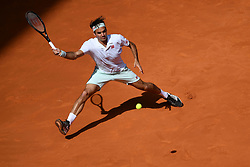 May 9, 2019 - Madrid, SPAIN - Roger Federer, of Switzerland, in action against G. Monfils during their Mutua Madrid Open round of 16 match at the Caja Magica tennis complex. Federer won 6-0, 4-6, 7-6 (3). (Credit Image: © Panoramic via ZUMA Press)