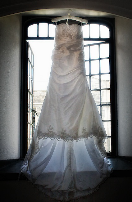 Daphina's wedding gown. Captured minutes before she put it on to walk down the aisle.