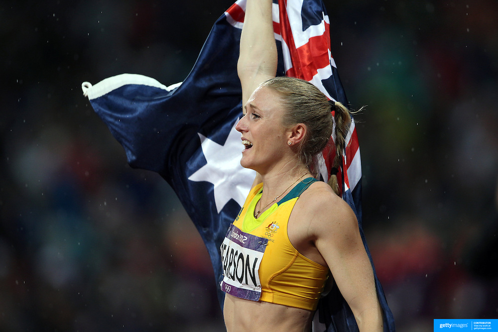 Sally Pearson, Australia, winning the Gold Medal in the Women's 100m Hurdles Final at the Olympic Stadium, Olympic Park, during the London 2012 Olympic games. London, UK. 7th August 2012. Photo Tim Clayton