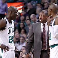 06 March 2012: Boston Celtics head coach Doc Rivers talks to Boston Celtics small forward Mickael Pietrus (28) during the Boston Celtics 97-92 (OT) victory over the Houston Rockets at the TD Garden, Boston, Massachusetts, USA.