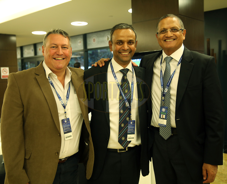 David East CEO at Emirates Cricket Board and Abu Dhabi Cricket Club, IPL COO Sundar Raman and Macky Dudhia General Manager Dupai Sports City  during match 20 of the Pepsi Indian Premier League Season 2014 between the Mumbai Indians and the Sunrisers Hyderabad held at the Dubai International Stadium, Dubai, United Arab Emirates on the 30th April 2014<br /> <br /> Photo by Sandeep Shetty / IPL / SPORTZPICS
