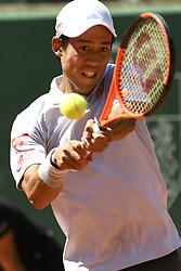GENEVA, May 27, 2017  Kei Nishikori of Japan returns the ball during the men's semifinal against Mischa Zverev of Germany at the Geneva Open ATP 250 Tennis tournament, in Geneva, Switzerland, May 26, 2017. Mischa Zverev won 2-1. (Credit Image: © Alain Grosclaude/Xinhua via ZUMA Wire)