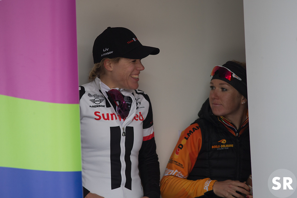 Ellen van Dijk (NED) of Team Sunweb and Amy Pieters (NED) of Boels-Dolmans Cycling Team share a joke backstage on the podium of Stage 2 of the Healthy Ageing Tour - a 19.6 km team time trial, starting and finishing in Baflo on April 6, 2017, in Groeningen, Netherlands.