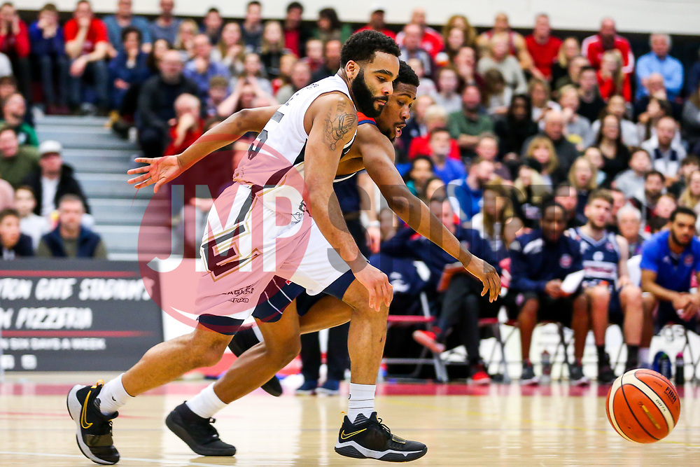 Zarko Jukic of Newcastle Eagles is challenged by Rhondell Goodwin of Bristol Flyers - Rogan/JMP - 06/01/2018 - BASKETBALL - SGS Wise Arena - Bristol, England. - Bristol Flyers v Newcastle Eagles - British Basketball League.