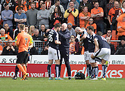 Dundee&rsquo;s Kostadin Gadzhalov gets treatment before having to leave the field with a shoulder injury - Dundee United v Dundee in the Ladbrokes Premiership at Tannadice<br /> <br />  - &copy; David Young - www.davidyoungphoto.co.uk - email: davidyoungphoto@gmail.com