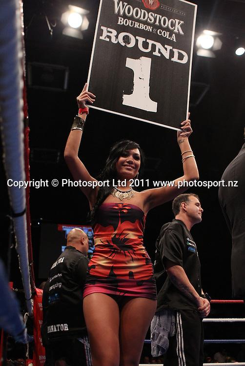 "Ring Girl at the David Tua and Demetrice King ""Backyard Brawl."" Boxing, 2011. Telstra Pacific Event Centre, Manakau, Auckland, New Zealand. Saturday 19 March 2011. Photo: Andrew Cornaga/photosport.co.nz"