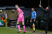 Forest Green Rovers goalkeeper Lewis Ward(34) makes his debut replacing the injured Forest Green Rovers goalkeeper James Montgomery during the EFL Sky Bet League 2 match between Forest Green Rovers and Mansfield Town at the New Lawn, Forest Green, United Kingdom on 29 January 2019.