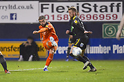 Luton Town player Elliot Lee has a shot on goal that narrowly misses the target in the second half  during the EFL Sky Bet League 1 match between Luton Town and AFC Wimbledon at Kenilworth Road, Luton, England on 23 April 2019.
