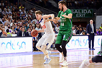 Real Madrid's Luka Doncic and Unicaja Malaga's Dejan Musli during semi finals of playoff Liga Endesa match between Real Madrid and Unicaja Malaga at Wizink Center in Madrid, June 02, 2017. Spain.<br /> (ALTERPHOTOS/BorjaB.Hojas)