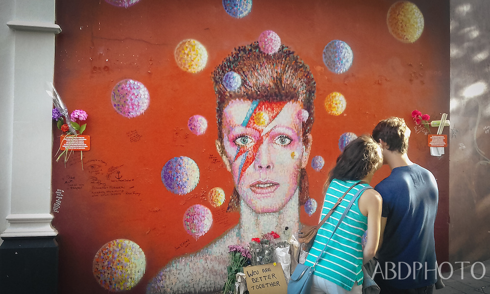 David Bowie shrine memorial in Brixton London England UK
