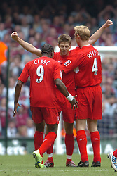 CARDIFF, WALES - SATURDAY, MAY 13th, 2006: Liverpool's Steven Gerrard celebrates scoring the second goal against West Ham United with team-mates Djibril Cisse and Sami Hyypia during the FA Cup Final at the Millennium Stadium. (Pic by Jason Roberts/Propaganda)