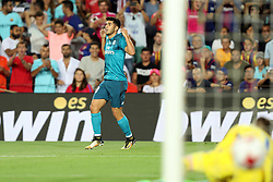 August 13, 2017 - Barcelona, Spain - Marco Asensio of Real Madrid celebrates after scoring his side's third goal during the Spanish Super Cup football match between FC Barcelona and Real Madrid on August 13, 2017 at Camp Nou stadium in Barcelona, Spain. (Credit Image: © Manuel Blondeau via ZUMA Wire)