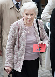 © Licensed to London News Pictures. 27/09/2016.  June Whitfield arrives for a Service of Thanksgiving for the Life and Work of Sir Terry Wogan at Westminster Abbey. Veteran broadcaster Sir Terry Wogan died in January 2016. The Irish star had a long and successful career at the BBC, including stints on  radio and TV. London, UK. Photo credit: Peter Macdiarmid/LNP