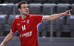 Michael V. Knudsen of Denmark  during 21st Men's World Handball Championship preliminary Group D match between Denmark and Saudi Arabia, on January 19, 2009, in Arena Zatika, Porec, Croatia. Win of Denmark 32:13. (Photo by Vid Ponikvar / Sportida)
